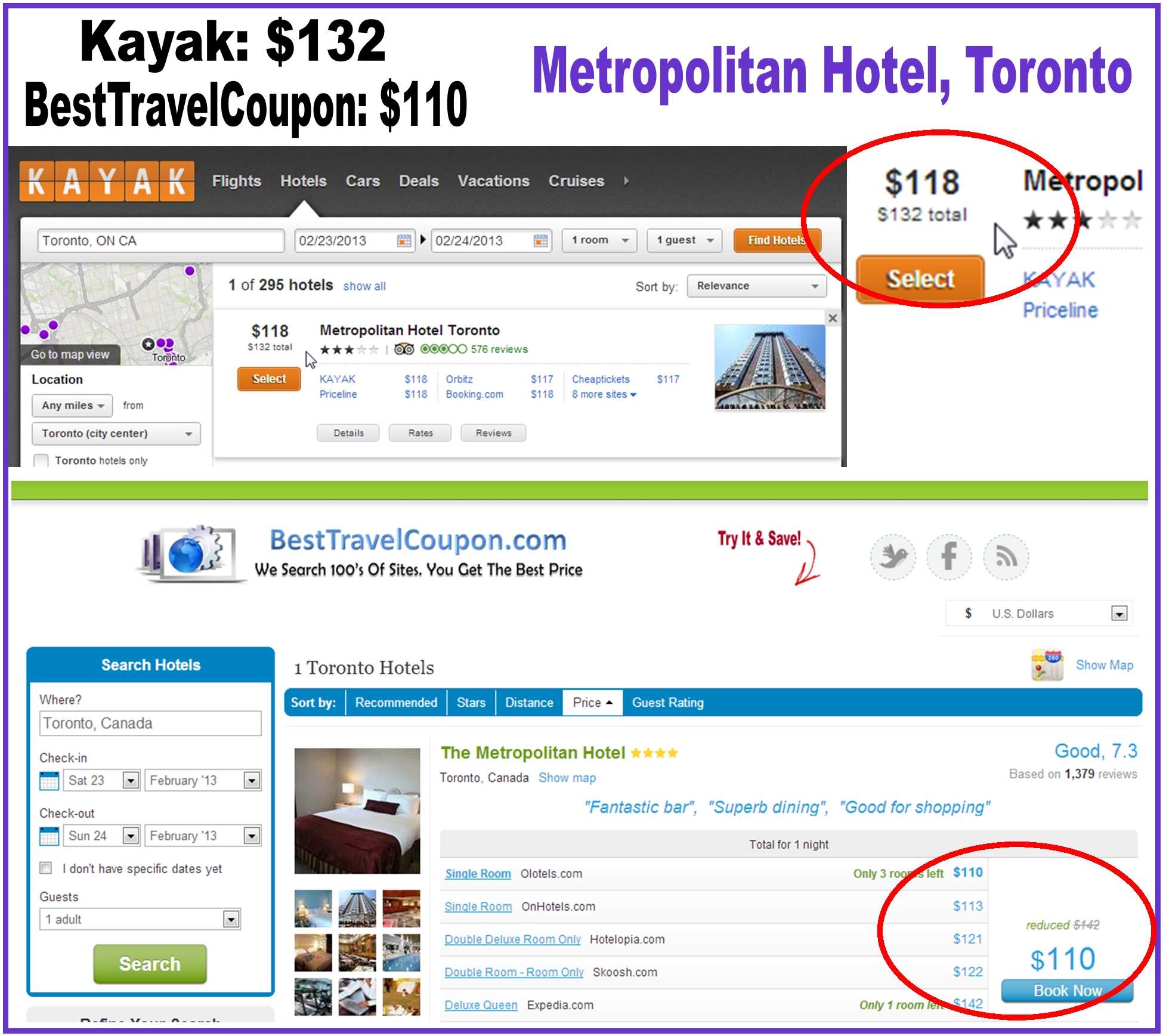Rent Search Engines: 2013 Hotel Price Comparison: Kayak & BestTravelCoupon.com