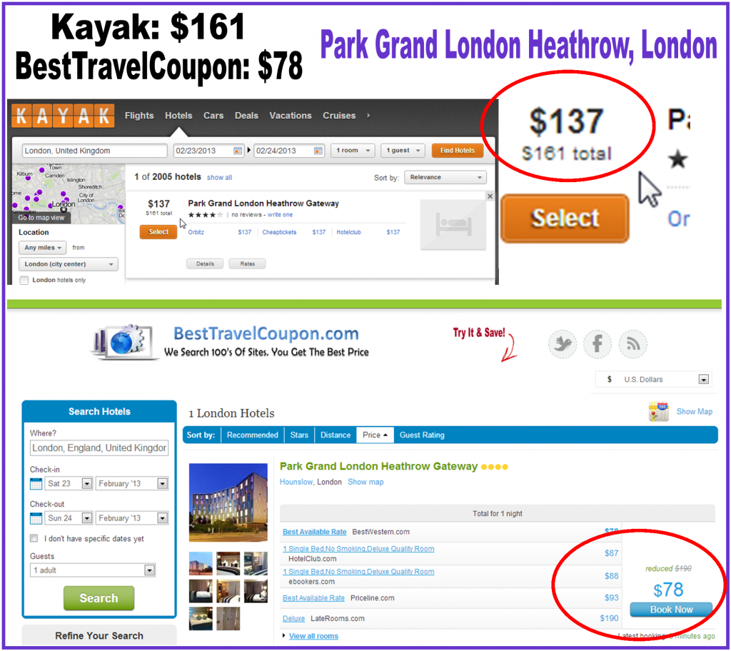 2013 hotel price comparison kayak