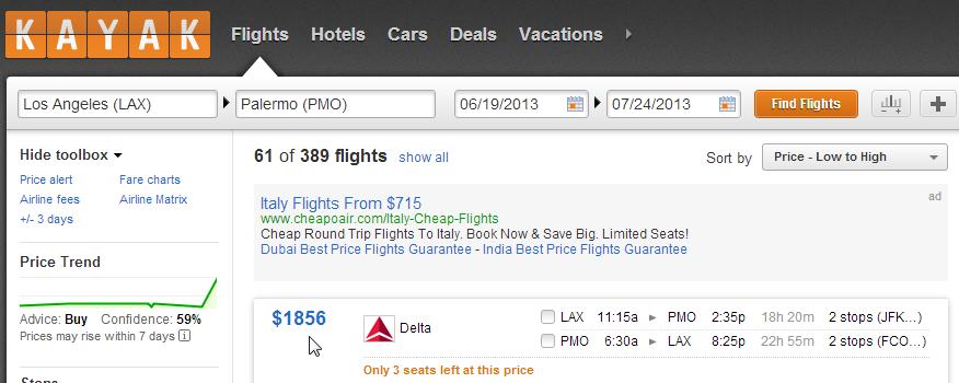 Flight Search Comparison